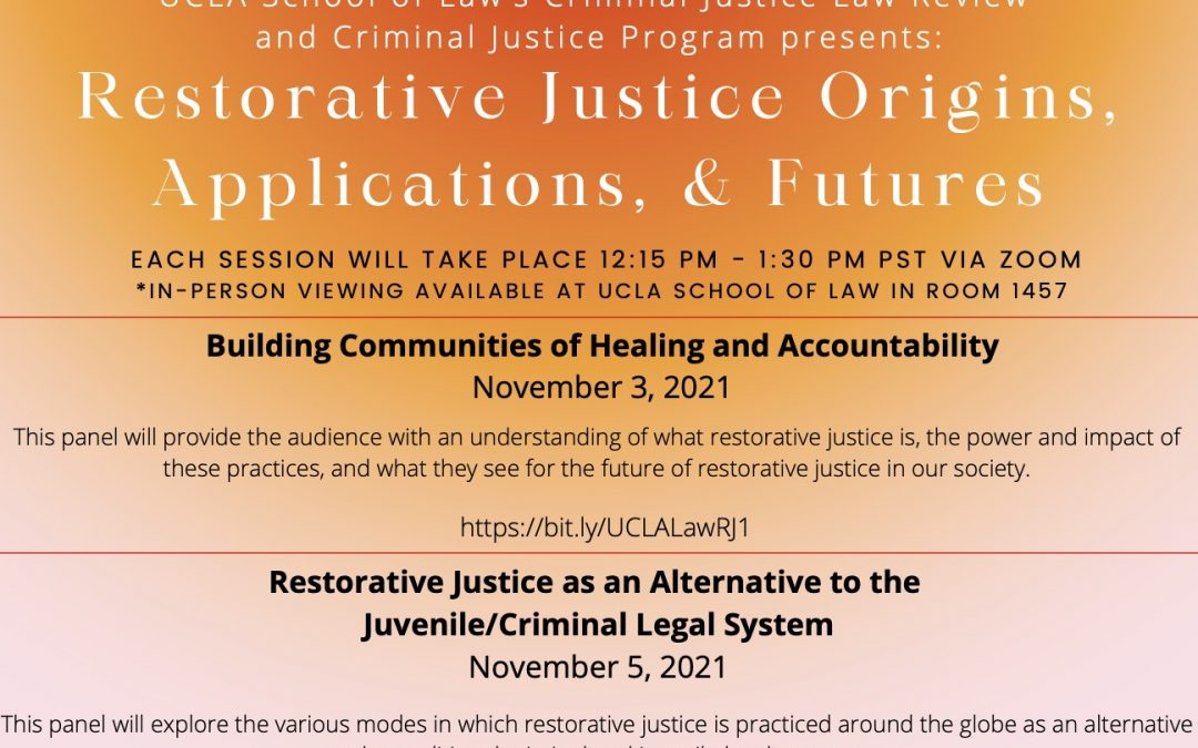 SCRJI Co-sponsoring UCLA Law Review Symposium on RJ